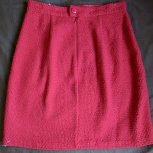 Modcloth red wool pencil skirt pleated